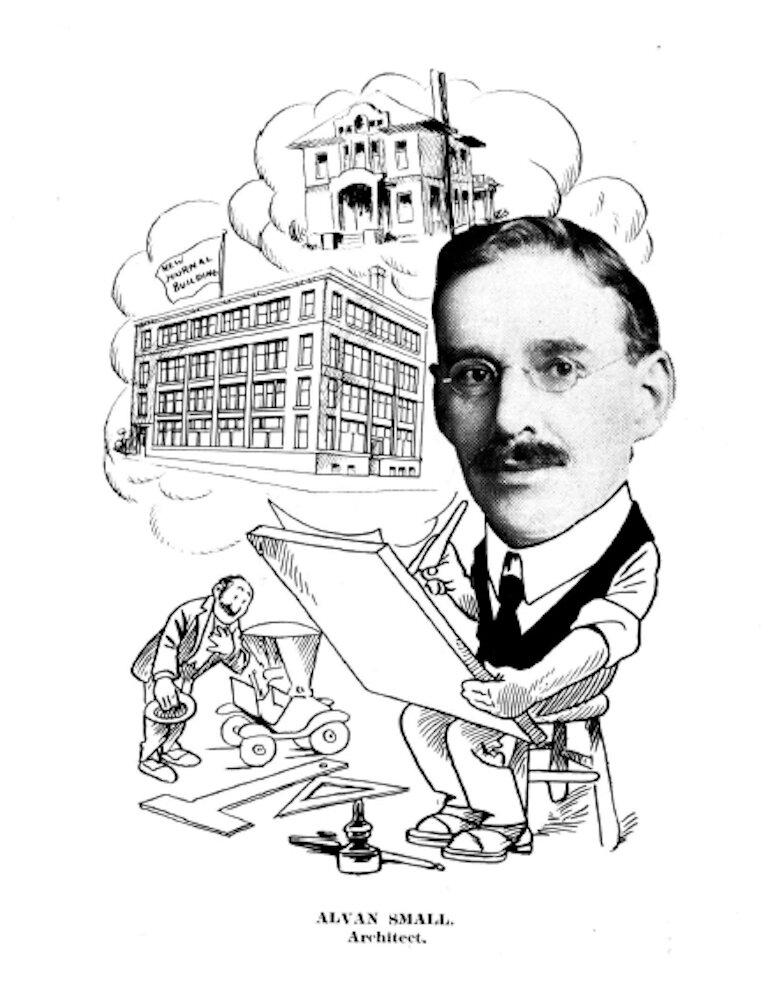 karikatúra historického architekta